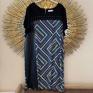 Calvin Klein Multicolored Plus Size Midi Dress